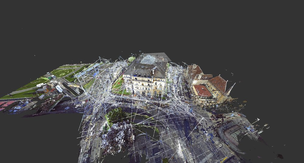 Bank. Laser scanner cloud of dots